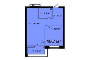 ЖК Скай Сити Плюс: планировка 1-комнатной квартиры 46.7 м²