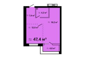 ЖК Скай Сити Плюс: планировка 1-комнатной квартиры 47.4 м²