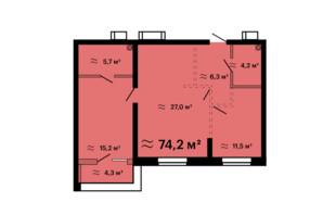 ЖК Скай Сити Плюс: планировка 2-комнатной квартиры 74.2 м²