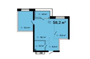 ЖК Скай Сити Плюс: планировка 1-комнатной квартиры 58.4 м²