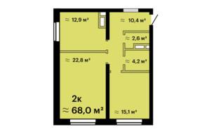 ЖК Скай Сити Плюс: планировка 2-комнатной квартиры 67.1 м²
