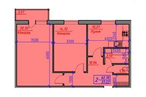 ЖК Скандинавський: планування 2-кімнатної квартири 62.7 м²