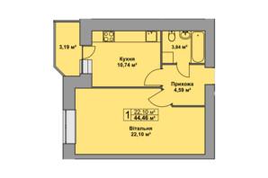 ЖК Східна Брама: планування 1-кімнатної квартири 44.46 м²