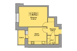 ЖК Східна Брама: планування 1-кімнатної квартири 46.76 м²