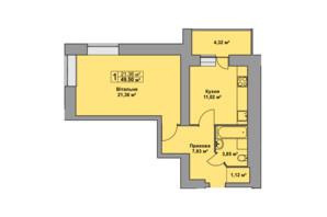 ЖК Східна Брама: планування 1-кімнатної квартири 49.5 м²