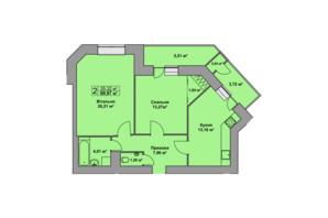 ЖК Східна Брама: планировка 2-комнатной квартиры 69.97 м²