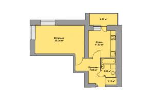 ЖК Східна Брама: планировка 1-комнатной квартиры 49.5 м²