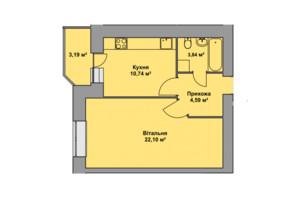 ЖК Східна Брама: планировка 1-комнатной квартиры 44.46 м²