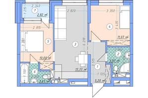 ЖК Sky Avenue: планировка 2-комнатной квартиры 54.4 м²