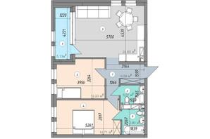 ЖК Sky Avenue: планировка 2-комнатной квартиры 70.13 м²