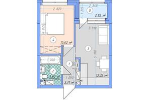 ЖК Sky Avenue: планування 1-кімнатної квартири 34.37 м²