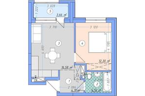ЖК Sky Avenue: планування 1-кімнатної квартири 40.79 м²