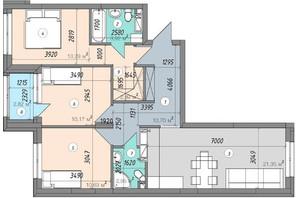 ЖК Sky Avenue: планування 3-кімнатної квартири 78.73 м²