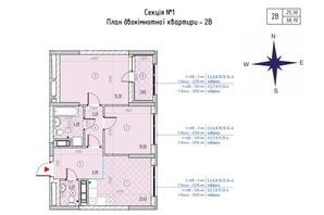 ЖК Sky Avenue: планування 2-кімнатної квартири 58.7 м²