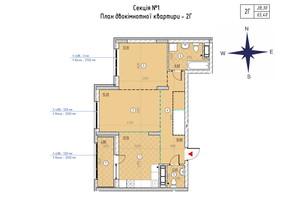 ЖК Sky Avenue: планування 2-кімнатної квартири 65.4 м²