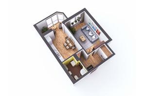 ЖК Sky: планування 1-кімнатної квартири 39.7 м²