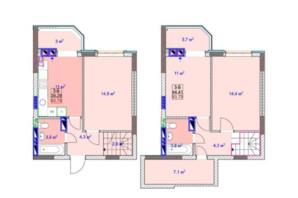 ЖК Sky: планировка 3-комнатной квартиры 84.06 м²