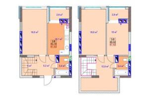 ЖК Sky: планировка 3-комнатной квартиры 92.7 м²