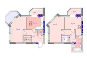 ЖК Sky: планировка 3-комнатной квартиры 84.75 м²