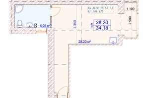 ЖК Славянский: планировка 1-комнатной квартиры 34.18 м²