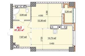 ЖК Славия: планировка 1-комнатной квартиры 42 м²