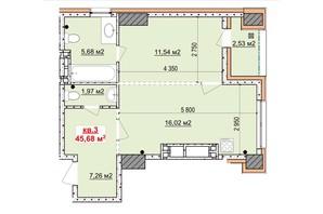 ЖК Славия: планировка 1-комнатной квартиры 45.68 м²