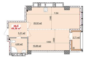 ЖК Славия: планировка 1-комнатной квартиры 49.56 м²