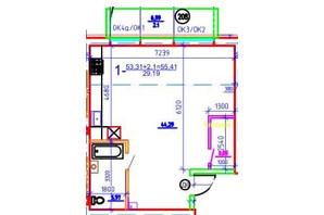 ЖК Слобожанская Слобода: планировка 1-комнатной квартиры 55.41 м²