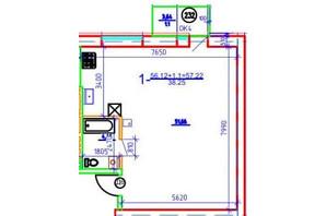 ЖК Слобожанская Слобода: планировка 1-комнатной квартиры 57.22 м²
