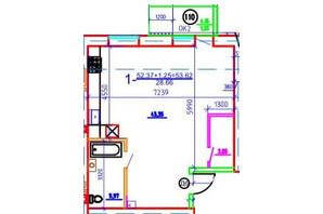 ЖК Слобожанская Слобода: планировка 1-комнатной квартиры 53.62 м²