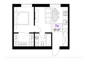 ЖК Слобожанский: планировка 1-комнатной квартиры 40 м²