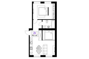 ЖК Слобожанский: планировка 2-комнатной квартиры 56.1 м²
