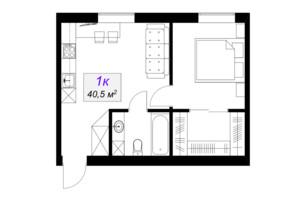 ЖК Слобожанський: планування 1-кімнатної квартири 40.5 м²