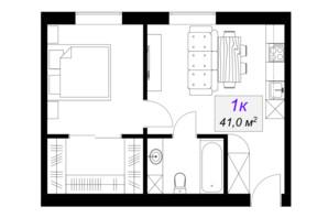 ЖК Слобожанський: планування 1-кімнатної квартири 41 м²