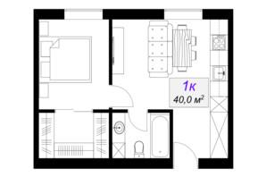ЖК Слобожанський: планування 1-кімнатної квартири 40 м²