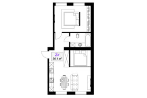 ЖК Слобожанський: планування 2-кімнатної квартири 56.1 м²