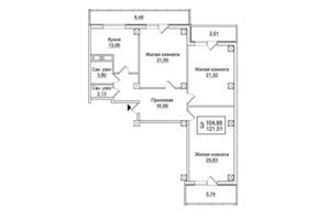 ЖК Слобожанский квартал: планировка 3-комнатной квартиры 121.51 м²