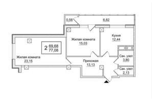 ЖК Слобожанский квартал: планировка 2-комнатной квартиры 77.08 м²