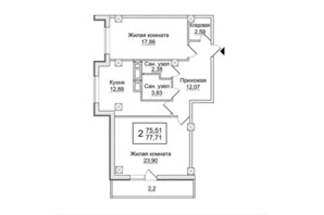 ЖК Слобожанский квартал: планировка 2-комнатной квартиры 77.71 м²