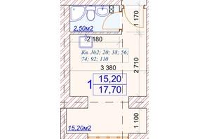 ЖК Слов'янський: планування 1-кімнатної квартири 17.7 м²