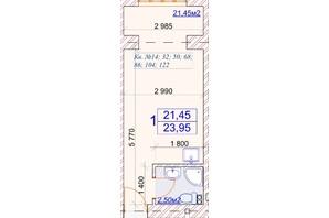 ЖК Слов'янський: планування 1-кімнатної квартири 23.95 м²