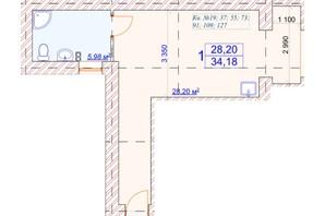 ЖК Слов'янський: планування 1-кімнатної квартири 34.18 м²