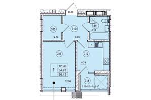 ЖК SmartCity (СмартСити): планировка 1-комнатной квартиры 36.42 м²