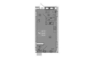 ЖК SmartCity (СмартСити): планировка 1-комнатной квартиры 30.49 м²