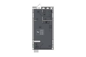 ЖК SmartCity (СмартСити): планировка 1-комнатной квартиры 30.2 м²