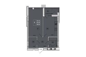 ЖК SmartCity (СмартСити): планировка 1-комнатной квартиры 46.94 м²