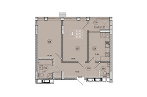 ЖК SmartCity (СмартСити): планировка 2-комнатной квартиры 61.1 м²