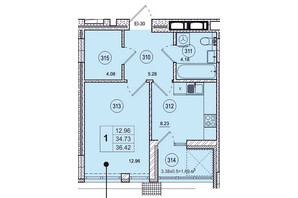ЖК SmartCity: планування 1-кімнатної квартири 36.42 м²