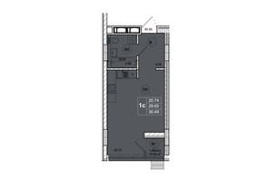 ЖК SmartCity: планировка 1-комнатной квартиры 30.49 м²