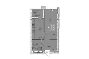 ЖК SmartCity: планировка 1-комнатной квартиры 40.13 м²